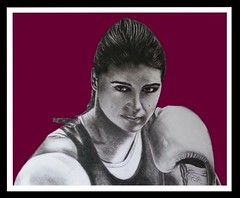 Katie Taylor in charcoal and digital background.... (GP1805) Tags: artwork art artist draw drawing sketchbookpro charcoal boxer boxing