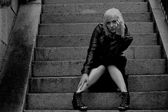 Alexa 86 Mono (TheseusPhoto) Tags: monochrome blackandwhite bnw monotone portrait portraiture model modeling woman female girl leatherjacket fashion beautiful pretty noir blonde steps city urban stairs black