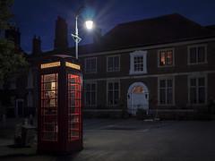 Night Line (Mike Hewson) Tags: salisbury telephone phone phonebox night lamp lamplight streetlight urban city windows street micro43 microfourthirds mirrorless panasonic lumix gh5 leicasummilux15mm england britain
