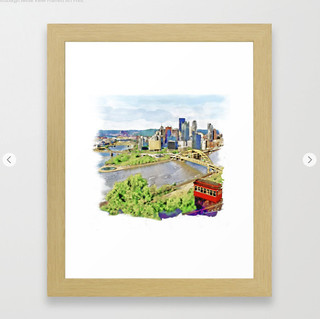 Pittsburgh Aerial View Framed Art Print