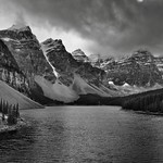 Valley of the Ten Peaks and Moraine Lake (Black & White) thumbnail