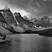 Valley of the Ten Peaks and Moraine Lake (Black & White)