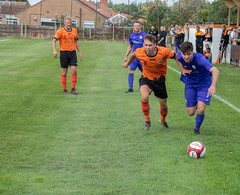 Newark Flowserve (nonleaguepap) Tags: newark flowserve nottinghamshire nottingham heanor town football club green grass pitch white lines goals saturday august 2018 east midlands counties league boots shirts shorts blue sky orange purple footballers trees dugouts subs bench