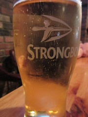 A pint of Strongbow cider (jamica1) Tags: glass mug pub revelstoke bc british columbia canada river city cider strongbow