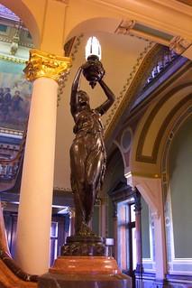 Des Moines Iowa - Iowa State Capitol - Interior - Rotunda - Newel Post Statue Lamp