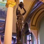 Des Moines Iowa - Iowa State Capitol - Interior - Rotunda - Newel Post Statue Lamp thumbnail