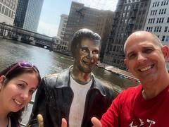 """The three """"coolest"""" people in Milwaukee (Hazboy) Tags: hazboy hazboy1 gf girlfriend selfie fonz fonzie milwaukee riverwalk river august 2018 wisconsin statue arthur fonzarelli"""