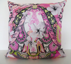 Hibiscus-Paisley-pink-cushion-with-unique-textile-printed-pattern (Paisley Pat) Tags: hibiscus paisley cushion pink floral flower ornamental print printed paisleypattern handmade homedecor homefurnishing homeware