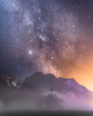 St. Coloman (louhma) Tags: st coloman milkyway stars milchstrase night nightsky longexosure long exposure alps neuschwanstein füssen bavaria deutschland nikon d750 colorful church fog mist nebel