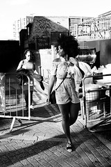 IMG_5845 (JetBlakInk) Tags: portrait streetphotography candidportrait mono women afrocaribbean afro pov barriers blackgirlmagic magichour