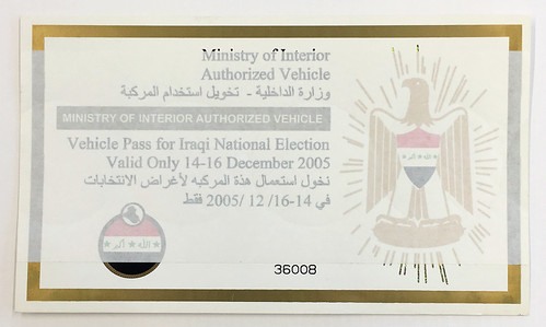 Vehicle Pass, Iraqi National Elections