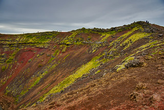 Cliff on Kerið Volcanic vrater Lake along the Golden Circle in South Iceland