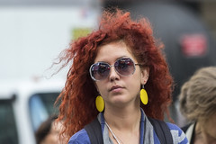 Redhead (Frank Fullard) Tags: frankfullard fullard red redhead hair shades candid street portrait newyork manhattan usa us colour color earrings beauty beautiful bigapple curls medusa