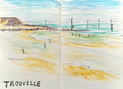 Trouville (cecile_halbert) Tags: croquis dessin esquisse trouville plage beach stylo crayonaquarelle watersolublepencils watercolorpencils sketching sketch sketchbook