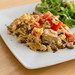 Scrambled eggs with tofu, tomatoes and mushrooms and sald