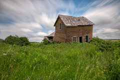"""Semi Detached"" (B.E.K. Photography) Tags: shelburne dundalk longexposure abandoned abandonment farm house architecture home ruin decay green field blue sky white fluffy clouds flowers weeds overgrown outdoor landscape nikond850 nikon1735f28 summer day afternoon"