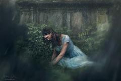 Mourning ({jessica drossin}) Tags: jessicadrossin england grave graveyard tomb death longing sadness green blue dress dream rain storm wwwjessicadrossincom nature human woman lady loss
