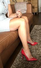 MyLeggyLady (MyLeggyLady) Tags: cleavage hotwife milf sexy secretary teasing thighs minidress leather cfm red pumps stiletto legs heels