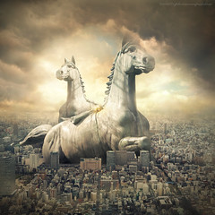 horse statue (evenliu photography) Tags: manipulation photomanipulation surreal surrealism art photoshop dream imagine