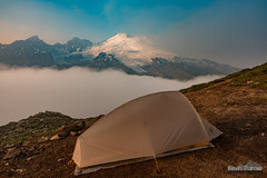 Room With a View (kevin-palmer) Tags: mountbaker mountbakerrecreationarea mtbakersnoqualmienationalforest washington august summer nikond750 evening smoke smoky glacier glaciated fog foggy clouds tent campsite backpacking bigagnes parkbutte tamron2470mmf28 cascades mountains blue sky
