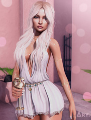 Celebrate Your Inner Goddess (Ary McAuley) Tags: sl second life fashion blog outfit ancient greek gods goddess aphrodite white dress golden wine glass blonde curly wavy waves hair summer mossu avaway uber chicchica navycopper michan collabor88 studio exposure arte imitation minimal sophia blume rings cindy armlets siobhan cup sundae nozomi lashes rust backgrounds