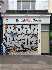Roan / Bean (Alex Ellison) Tags: roa fys add bean shop store shutter westlondon nottinghillcarnival2018 urban graffiti graff boobs