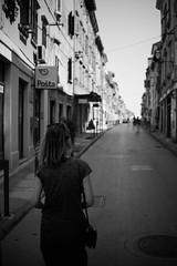 Istra, Croatia (thomas.drezet) Tags: meike 28mm f28 croatia istra street photography high contrast black white harsh sunlight perspective balkans fuji xe2 mother wandering walking adventure trip europe people buildings bokeh tonal