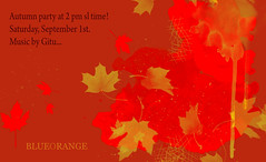 Autumn party at 2 pm sl time, Saturday-September 1st! (Gitu Aura) Tags: autumn party colourfultime celebrate blueorange bohemianclub september1st leaves