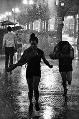 Wabash and Lake, Storm (draketoulouse) Tags: chicago loop street streetphotography night women woman rain storm blackandwhite monochrome city urban bw