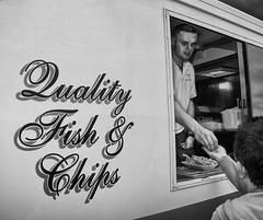 Quality Fish And Chips (Nick Biswell) Tags: sony sonya580 sonydslra580 tamron tamron18270 tamrondt18270mmf35f63 unitedkingdom england buckinghamshire pilchlane northbuckscountyshow bccpoty2018round5peopleinplace oneface longshot highquality van mobilevan mobilefishandchipvan howeco blackandwhite monochrome fishandchips