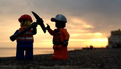 Working the dusk till dawn shift. (craigslegostuff) Tags: cmf lego minifig minifigure collectible outdoor outdoors hove brighton sussex beach seafront afol construction constructionworker orange sunset axe pickaxe ax council gaswork holeinroad maintenance hovesunset
