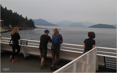 Horseshoe Bay Ferry BC18h14 LG (CanadaGood) Tags: canada bc britishcolumbia horseshoebay westvancouver bcferries ferry sea howesound people person island mountain canadagood 2018 thisdecade color colour cameraphone sign