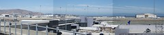 From North to East, Terminal 2 people mover station, SFO DSC_0293-4-5 (wbaiv) Tags: san francisco international airport bay area california airliner airplane jetliner aircraft jet commercial passenger boeing airbus grayish day august 2018 panorama from terminal 2 roof trolly stop maintenance hangar runway 191 united airlines base
