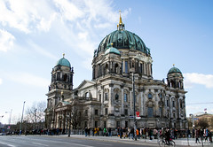 Berlin Cathedral (dgoomany) Tags: holiday vacation trip citybreak europe germany berlin history worldwarii wwii monuments views exploring sky blue sunny travelling travellers communism architecture oldbuildings buildings cathedral berlincathedral church christianity christian religion dome