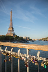 weighed down by love? (Emma Varley) Tags: paris seine eiffeltower padlocks lovelocks goldenhour pontdebilly