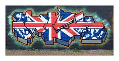 Street Art (Billy Mush), East London, England. (Joseph O'Malley64) Tags: billymush graffitiartist graffiti urbanart freeart publicart streetart eastlondon eastend london england uk britain british greatbritain art artist artistry artwork mural muralist wallmural unionflag flag wall walls concreteblocks weeds urban urbanlandscape fujix fujix100t aerosol cans spray paint accuracyprecision