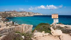 Favignana, Cala rossa (rafpas82) Tags: calarossa favignana sicily sicilia egadi italy italia blu mare mediterraneo sign segnale nuvola sea mediterraneansea island panorma panoramic view panoramicview shadesofblue windy