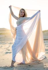 Beach Light (arlene sopranzetti) Tags: model back lit beach ocean parachute dress fashion glamour exposure compensation golden hour sunlight
