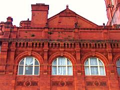 Baltic Market Windows, Liverpool, England (teresue) Tags: 2017 uk unitedkingdom greatbritain england merseyside liverpool windows lookingup architerials bricks