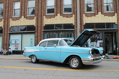 Skate Along... With Chevrolet (Flint Foto Factory) Tags: flint michigan urban city summer august 2018 home town hometown annual backtothebricks car festival 1957 chevrolet chevy belair 2door coupe blue white top trim brushalley skate shop ssaginawst thirdave trifive 111 ethirdst paterson building