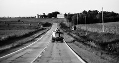 I am a lineman for the county (David Sebben) Tags: lineman county iowa black white highway monochrome rural electricity