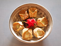 Dinner at Xinji Noodle Bar, CLE OH (PlaysWithFood) Tags: xinjinoodlebar xinji ramen dumplings vegetabledumpling porkdumpling dinner cocktail