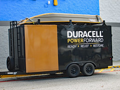 Duracell Power Forward Trailer. (dccradio) Tags: lumberton nc northcarolina robesoncounty outdoor outdoors outside walmart store retail bigboxstore duracell powerforward hurricaneflorence florence september earlyfall earlyautumn latesummer monday mondayafternoon wifi powerstation free batteries duracellbatteries batterystation walmartsign words text transportation vehicle trailer boat ready relief restore canon powershot a3400is
