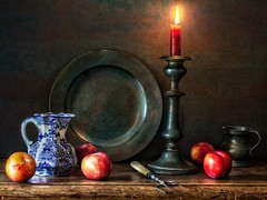 Traditional Dutch-style Still Life (memoryweaver) Tags: memoryweaver tabletop fruit plums plate candlestick affinityphoto painting candlelight candle pewter texture texturised stilllife oldmaster dutch