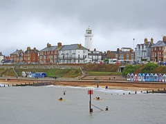 Southwold from the pier (Linda 2409) Tags: seaside seafront lighthouse beach beachhuts