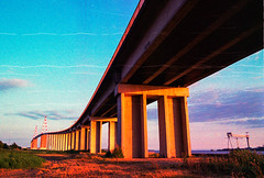Bridge and scratch (herbdolphy) Tags: bridge pont stnazaire argentique analogique scratch pellicule film fx3super2000 yashica kodak sunset 35mm rayures
