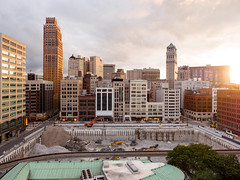 P8290537 (elsuperbob) Tags: detroit michigan zdeck downtowndetroit skyscrapers skyline sunset hudsonblock hudsonsite davidstottbuilding booktower