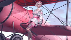 A Pretty Pink Plane (Vanity Darling) Tags: pink pilot kawaii cute baby girl catwa lona insol okkbye sugar pill tram swallow jacket boots fishnet collar blond plane airplane goggles tanktop tank top gun garden miwah airship pout cutie beauty arcade moon elixer forge consignment airport foxcity pose ahegao tattoo