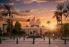 Arizona State Capitol Sunset (ks_pics) Tags: sunset arizonastatecapitol building architecture palmtrees clouds landscape city flags cactus