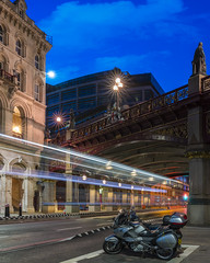 Low In Holborn (JH Images.co.uk) Tags: night bluehour bridge hdr dri london lighttrails trail holbornviaduct holborn viaduct